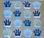 16 x gold, white & black foam dog paw craft stickers mixed  embellishment 0.75""